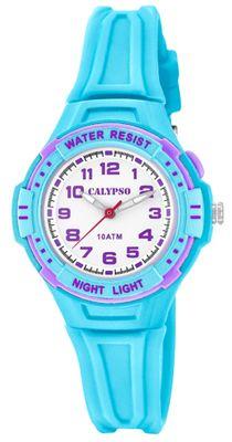 Calypso Kinderuhr analog Quarz Licht und Leuchtzeiger türkis K6070/2
