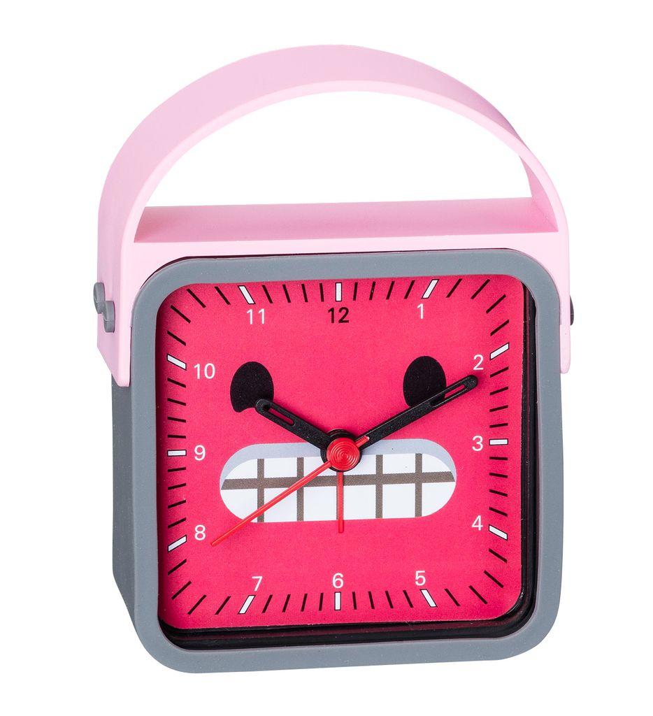 analoger wecker kinderwecker emoji rosa grau mit. Black Bedroom Furniture Sets. Home Design Ideas