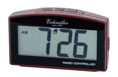 Funkwecker Wecker Alarm Digital mit Schlummer Funktion braun