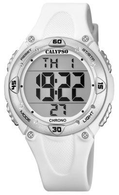 Calypso Kinderuhr digital Quarz 2.Zeitzone Alarm Stoppuhr weiß K5741/1