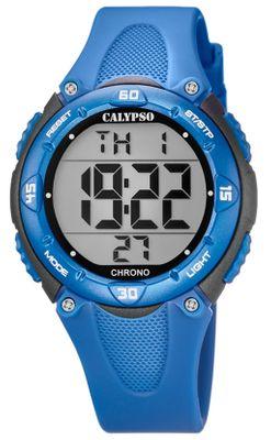 Calypso Kinderuhr digital Quarz 2.Zeitzone Alarm Stoppuhr blau K5741/5
