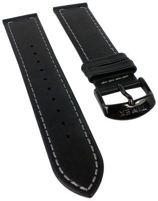 Timex Ersatzband Uhrenarmband Leder Schwarz 20mm mit Kontrastnaht für T28071