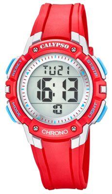 Calypso Kinderuhr Quarz digital Alarm Stoppuhr 2.Zeitzone rot K5739/1