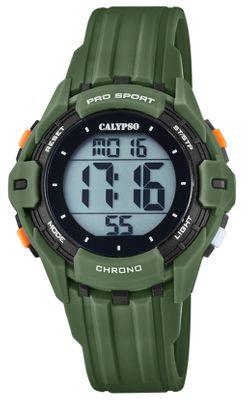 Calypso Kinderuhr digital Quarz Stoppuhr Alarm 2.Zeitzone grün K5740/5
