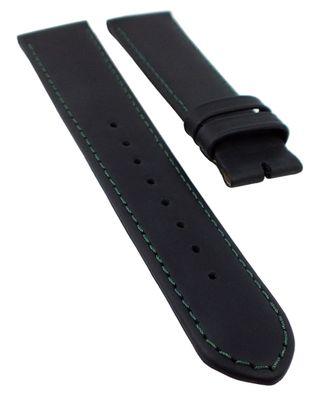 Junghans Mega Solar Uhrenarmband 20mm   Leder schwarz grüne Naht 32350