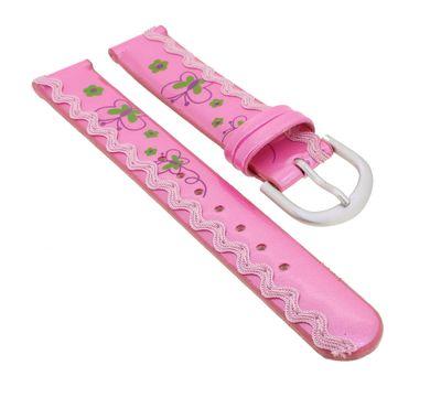 Minott | Kinder Uhrenarmband 14mm | rosa mit Schmetterling-Motiv 32380