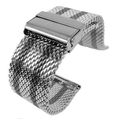 Minott Uhrenarmband | Milanaise Edelstahl | schwarze Streifen 32429 – Bild 1
