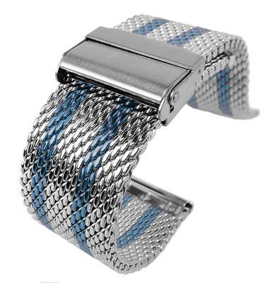 Minott Uhrenarmband | Milanaise Edelstahl | blaue Streifen 32430 – Bild 1