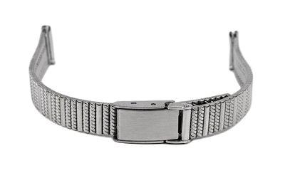 Uhrenarmband Edelstahl 12mm | Silberfarben mit Schiebeverschluss 32481 – Bild 1