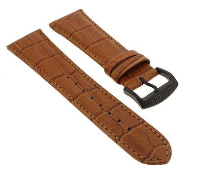 Citizen Uhrenarmband 22mm | Leder braun in Kroko-Optik | CA0335-04E