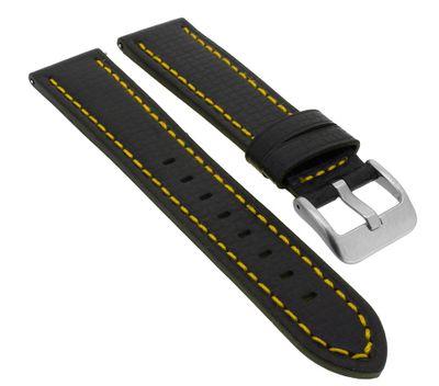 Minott > Uhrenarmband Easy Click Carbonlook Leder in schwarz > 33069