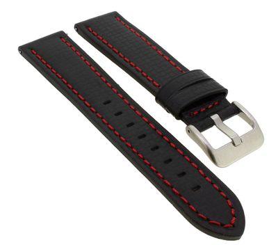 Minott Uhrenarmband Carbonlook   Easy Click   Leder in schwarz 33074