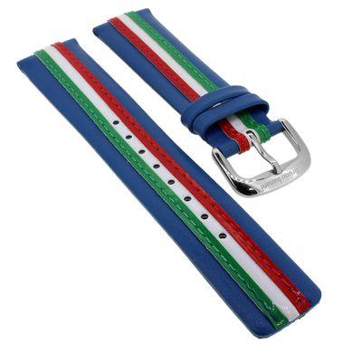 Bruno Banani Uhrenarmband 21mm   Leder blau mit bunten Streifen CD2194