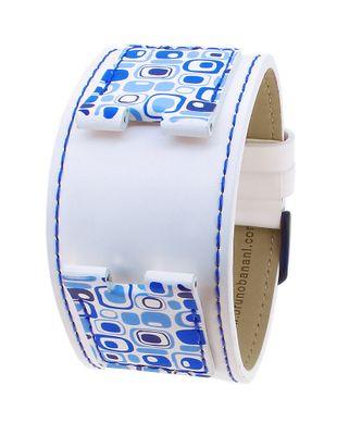 Bruno Banani Uhrenarmband weiß/blau Leder mit Kontrastnaht CA3 262 306 – Bild 1