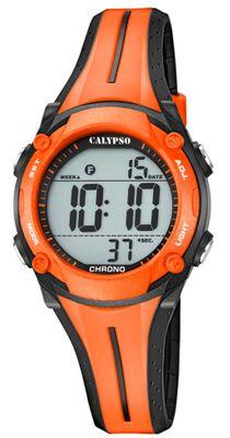 Calypso Damenuhr   digital Quarz 3 Alarmzeiten schwarz/orange K5682/B