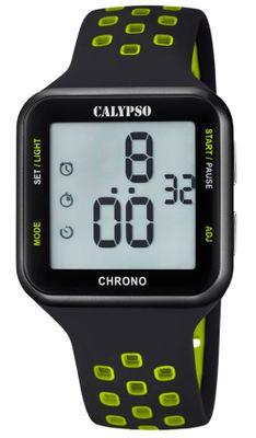Calypso Digitaluhr | Quarz Alarm Stoppuhr Timer schwarz/grün K5748/6