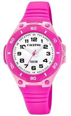 Calypso Kinderuhr | Analoge Uhr mit Licht Leuchtzeiger pink K5758/3