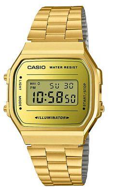 Casio Collection der Klassiker | Digitaluhr Edelstahl A168WEGM-9EF