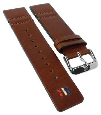 Tommy Hilfiger ♦ Uhrenarmband 22mm Leder braun mit Ziernaht ♦ 1791208 – Bild 1