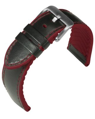 Eulit Eutec Uhrenarmband versiegelte Kante Materialmix schwarz 34622