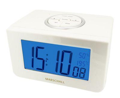 Marschall Funkwecker > Sprechender Wecker Digital weiß Alarm < 34714
