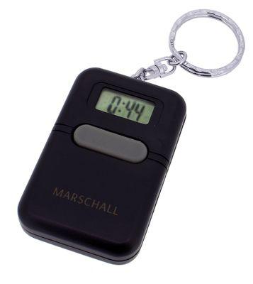 Marschall Schlüsselanhänger Digital schwarz Sprechender Wecker > 34734