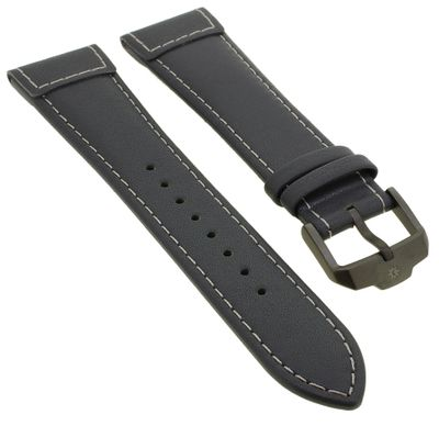 Junghans Meister Pilot Uhrenarmband 22mm Leder grau mit Naht 027/3795 – Bild 1