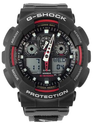 Herrenuhr analog-digital Casio G-Shock mit Textilband GA-100V-1A4ER – Bild 1
