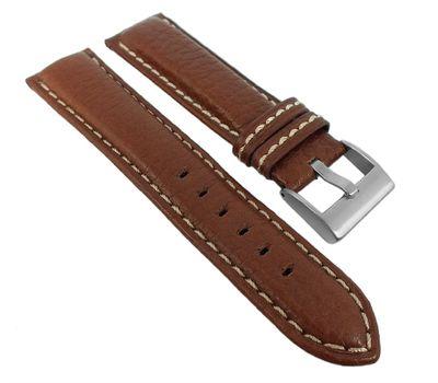 Eulit Imola XL | Uhrenarmband Rindsleder braun mit Kontrastnaht 35087