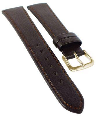 EULIT Kansas Uhrenarmband, flach   Rindleder, genarbt   d.braun 35089 – Bild 2