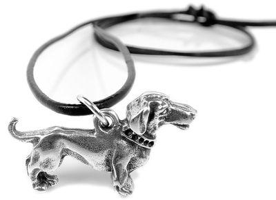 SET Minott Halskette | Hänger aus Messing | Hund mit Lederschnur 35101 – Bild 1