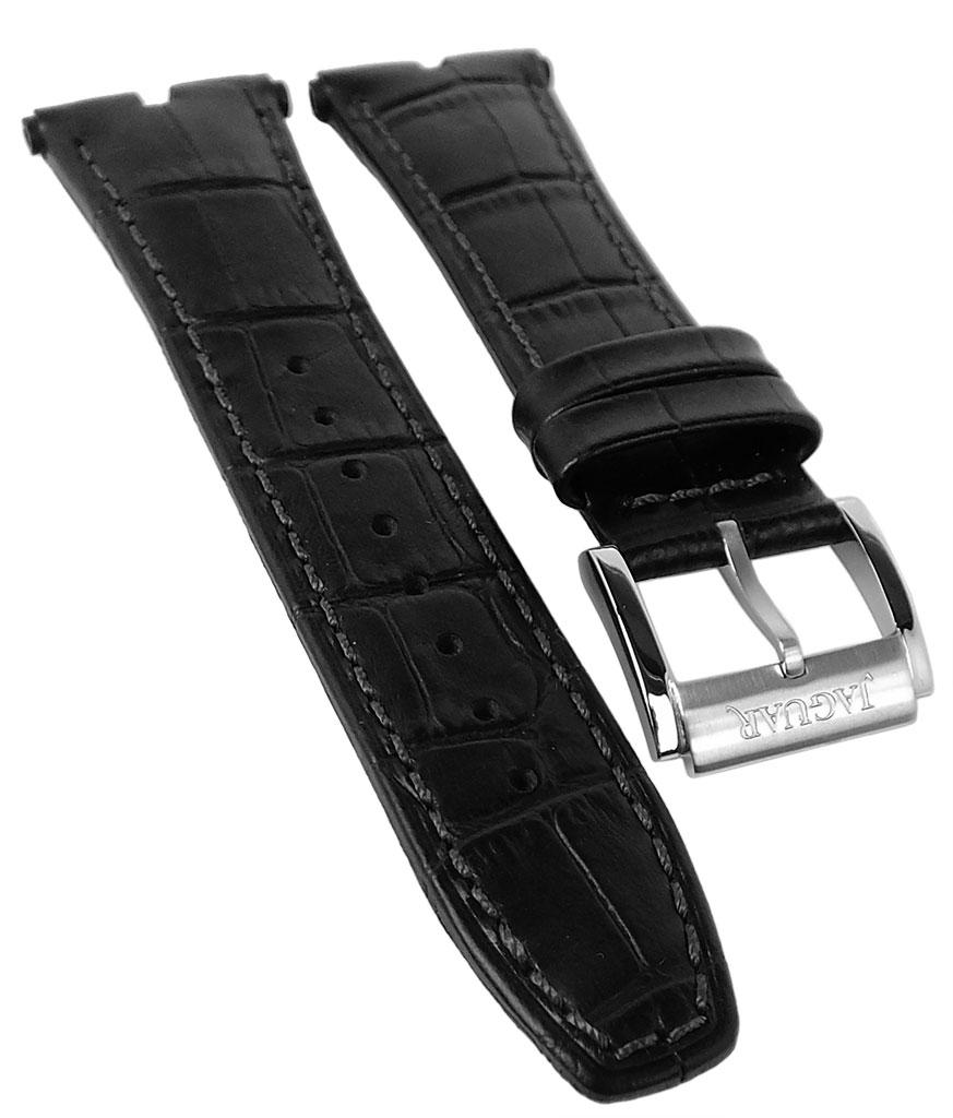 Jaguar Executive Uhrenarmband Leder Krokoprägung schwarz   J857 1 J857 af93fa74d1c