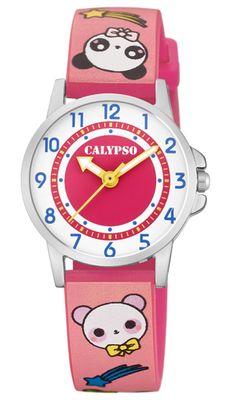 Calypso Kinderuhr → Quarzuhr PU Band Edelstahl analog rosa → K5775/3