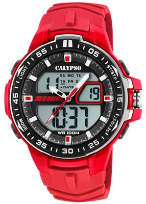 Calypso > Armbanduhr Herrenuhr rot Quarzwerk Analog Digital > K5766