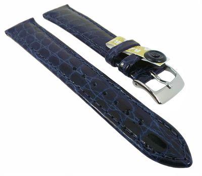 BARINGTON KROKO Uhrenarmband | Krokodilleder, poliert | d.blau 35439D – Bild 2