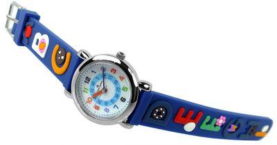 Alpha Saphir Kinderuhr → Edelstahl Kunststoffband analog blau → 394C