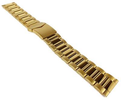 Herzog Edelstahlband Uhrenarmband 22mm Edelstahl > goldfarben glänzend – Bild 2