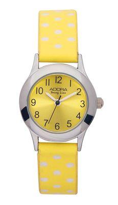 Adora Youngline | Edelstahl Kinderuhr | gelb / weiße dots | Ø 24mm