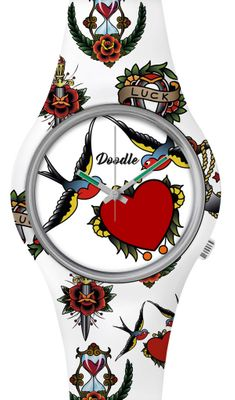 DOODLE WATCH  ░  Armbanduhr Ø 39mm | SWALLOWS AND HEARTS  > DOTA002 – Bild 1