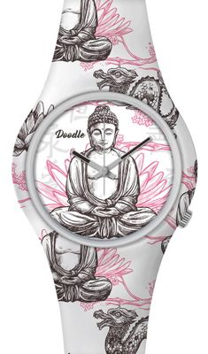 DOODLE WATCH  ☯  Armbanduhr Ø 39mm | Silikon | BUDDHA WHITE > DOOR001 – Bild 1