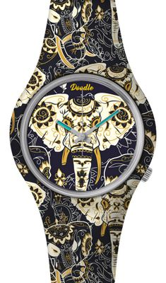 DOODLE WATCH ☯ Armbanduhr Ø 39mm | Silikon | ASIAN ELEPHANT > DOOR002 – Bild 1