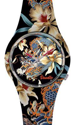 DOODLE WATCH ♠ Armbanduhr Ø 39mm | Silikon | ORCHID & DRAGON > DODR001 – Bild 1