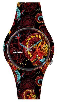 DOODLE WATCH ♠ Armbanduhr Ø 39mm | Silikon | RED DRAGON > DODR002 – Bild 1