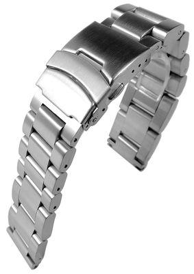 Minott Uhrenarmband | Edelstahlband massiv | gebürstet | Faltschließe  – Bild 3