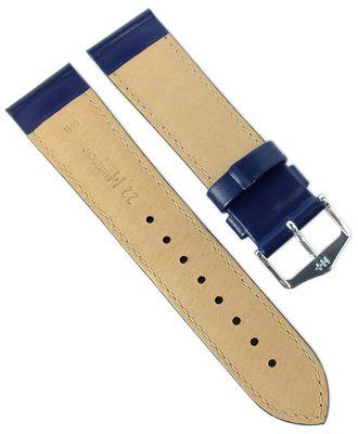 HIRSCH Uhrenarmband mit Naht   Leder > Seidenglanz > blau   Corse M – Bild 4