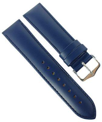HIRSCH Uhrenarmband mit Naht   Leder > Seidenglanz > blau   Corse M – Bild 3