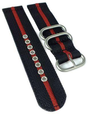 HIRSCH Uhrenarmband | Textil Zulu Band | schwarz / rot| Bond