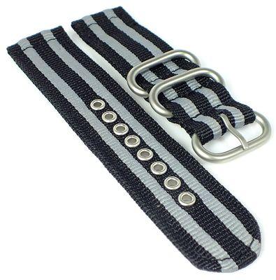 HIRSCH Uhrenarmband | Textil Zulu Band | schwarz / grau gleichlaufend