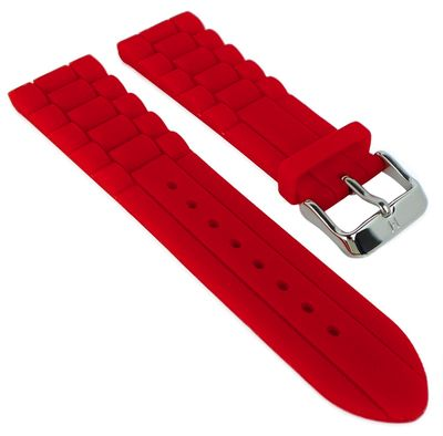 HIRSCH Uhrenarmband   Silikonband mit Dornschließe > rot   Jelly – Bild 3