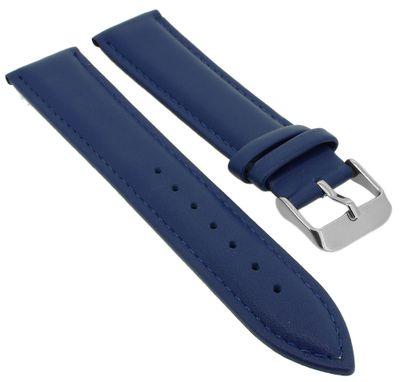 Minott | Uhrenarmband weiches glattes Leder blau | Band mit Naht – Bild 1